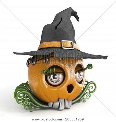 Halloween Pumpkin Jack O Lantern Lady With Witch Hat 3D