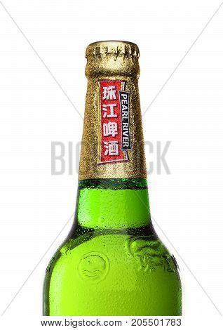 London,uk - September 24, 2017: Bottle Of Pearl River Lager Beer On White