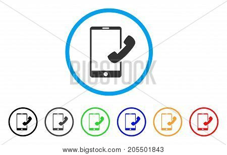 Call Smartphone rounded icon. Style is a flat call smartphone gray symbol inside light blue circle with black, gray, green, blue, red, orange versions. Vector designed for web and software interfaces.