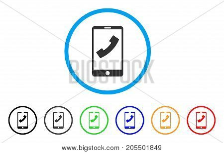 Cell Phone rounded icon. Style is a flat cell phone gray symbol inside light blue circle with black, gray, green, blue, red, orange color versions. Vector designed for web and software interfaces.