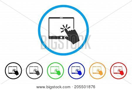Click Mobile Tablet rounded icon. Style is a flat click mobile tablet gray symbol inside light blue circle with black, gray, green, blue, red, orange color versions.