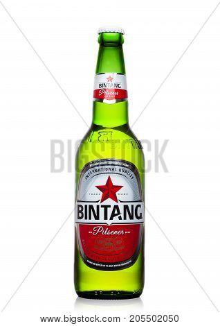 London,uk - September 24, 2017: Bottle Of Indonesian Bintang Lager Beer Isolated On White