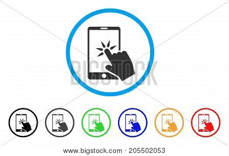 Hand Click Smartphone rounded icon. Style is a flat hand click smartphone gray symbol inside light blue circle with black, gray, green, blue, red, orange color versions.