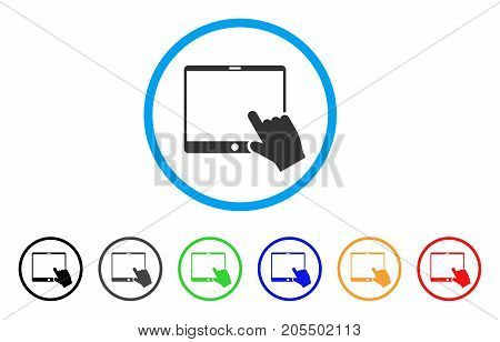 Hand Pointer Tablet rounded icon. Style is a flat hand pointer tablet grey symbol inside light blue circle with black, gray, green, blue, red, orange versions.