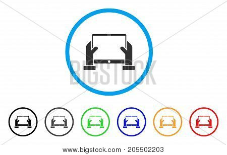 Hands Hold Tablet rounded icon. Style is a flat hands hold tablet grey symbol inside light blue circle with black, gray, green, blue, red, orange color versions.
