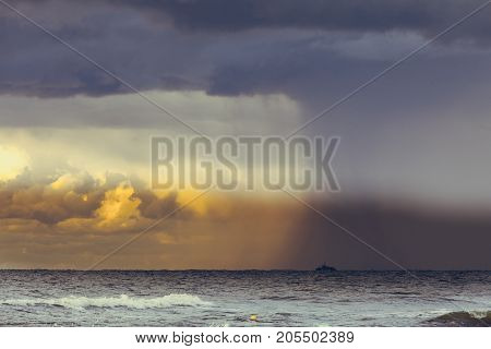 Beginning Of The Storm Rain In Ocean, Dark Cloudy Sky