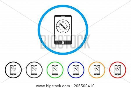 Mobile Compass rounded icon. Style is a flat mobile compass gray symbol inside light blue circle with black, gray, green, blue, red, orange variants. Vector designed for web and software interfaces.