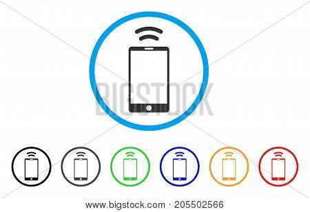 Mobile Irda Signal rounded icon. Style is a flat mobile irda signal gray symbol inside light blue circle with black, gray, green, blue, red, orange variants.
