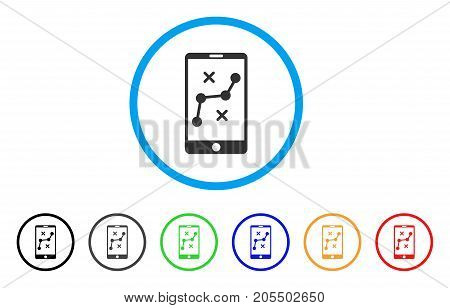 Mobile Navigation Route rounded icon. Style is a flat mobile navigation route gray symbol inside light blue circle with black, gray, green, blue, red, orange versions.
