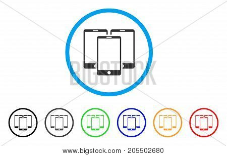 Mobile Phones rounded icon. Style is a flat mobile phones gray symbol inside light blue circle with black, gray, green, blue, red, orange color versions.