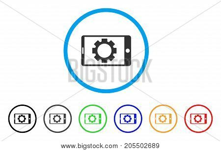 Mobile Settings Gear rounded icon. Style is a flat mobile settings gear gray symbol inside light blue circle with black, gray, green, blue, red, orange versions.