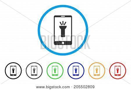 Mobile Torch App rounded icon. Style is a flat mobile torch app gray symbol inside light blue circle with black, gray, green, blue, red, orange color versions.