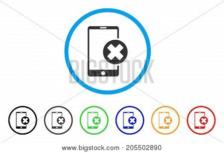 Phone Cancel rounded icon. Style is a flat phone cancel gray symbol inside light blue circle with black, gray, green, blue, red, orange variants. Vector designed for web and software interfaces.