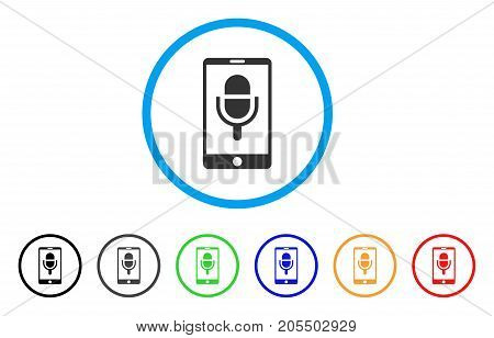 Phone Microphone rounded icon. Style is a flat phone microphone gray symbol inside light blue circle with black, gray, green, blue, red, orange versions.