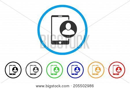 Phone User Profile rounded icon. Style is a flat phone user profile grey symbol inside light blue circle with black, gray, green, blue, red, orange variants.