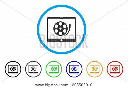 Phone Video Reel rounded icon. Style is a flat phone video reel gray symbol inside light blue circle with black, gray, green, blue, red, orange color versions.