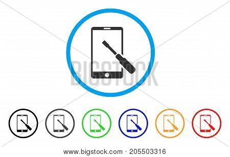 Smartphone Tuning Screwdriver rounded icon. Style is a flat smartphone tuning screwdriver grey symbol inside light blue circle with black, gray, green, blue, red, orange color versions.