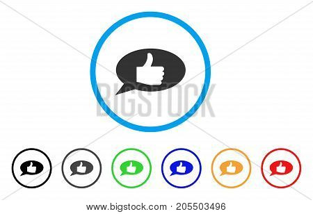 Thumb Up Message rounded icon. Style is a flat thumb up message grey symbol inside light blue circle with black, gray, green, blue, red, orange color versions.