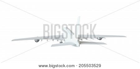 White airplane. Isolated on white background. 3d illustration