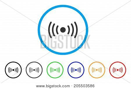 Wi-Fi Point rounded icon. Style is a flat wi-fi point gray symbol inside light blue circle with black, gray, green, blue, red, orange color versions. Vector designed for web and software interfaces.