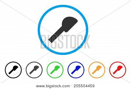 Shower Head rounded icon. Style is a flat shower head gray symbol inside light blue circle with black, gray, green, blue, red, orange color versions. Vector designed for web and software interfaces.