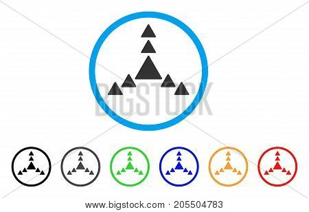 Direction Triangles rounded icon. Style is a flat direction triangles gray symbol inside light blue circle with black, gray, green, blue, red, orange color versions.
