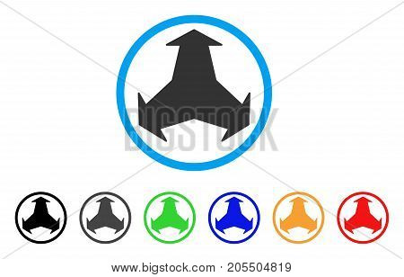 Directions rounded icon. Style is a flat directions gray symbol inside light blue circle with black, gray, green, blue, red, orange variants. Vector designed for web and software interfaces.