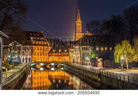 Canal in the Petite France area - Strasbourg, France