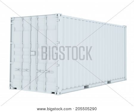 White cargo container. Transportation concept. 3d rendering
