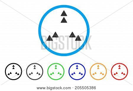 Move Out rounded icon. Style is a flat move out grey symbol inside light blue circle with black, gray, green, blue, red, orange variants. Vector designed for web and software interfaces.
