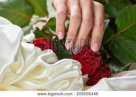 Female manicured hand, silk, roses. Young woman hand with beautiful manicure on red roses with white silk material. Womans tenderness and beauty.