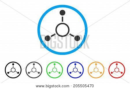 Radial Structure rounded icon. Style is a flat radial structure grey symbol inside light blue circle with black, gray, green, blue, red, orange variants.