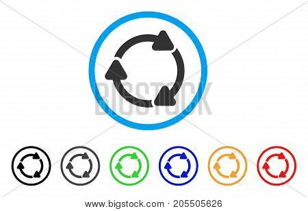 Rotate CW rounded icon. Style is a flat rotate cw grey symbol inside light blue circle with black, gray, green, blue, red, orange variants. Vector designed for web and software interfaces.