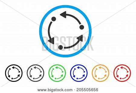 Rotate rounded icon. Style is a flat rotate gray symbol inside light blue circle with black, gray, green, blue, red, orange versions. Vector designed for web and software interfaces.