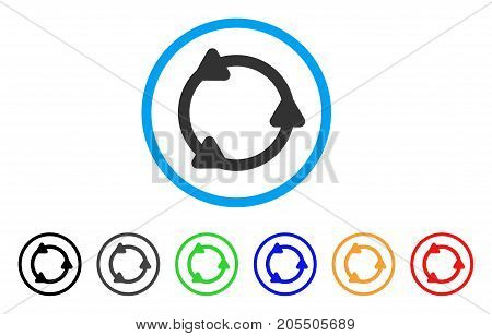 Rotate rounded icon. Style is a flat rotate gray symbol inside light blue circle with black, gray, green, blue, red, orange color versions. Vector designed for web and software interfaces.