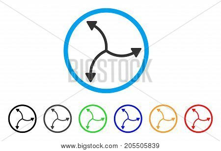 Swirl Arrows rounded icon. Style is a flat swirl arrows gray symbol inside light blue circle with black, gray, green, blue, red, orange variants. Vector designed for web and software interfaces.