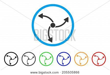Swirl Direction rounded icon. Style is a flat swirl direction gray symbol inside light blue circle with black, gray, green, blue, red, orange color versions.
