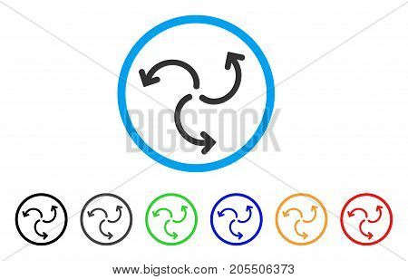 Turbine Rotation rounded icon. Style is a flat turbine rotation gray symbol inside light blue circle with black, gray, green, blue, red, orange variants.