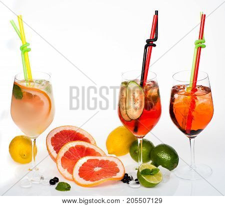 Cocktails Isolated On White.