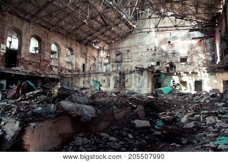 Interior of abandoned and destroyed sugar factory in Ramon, Voronezh region