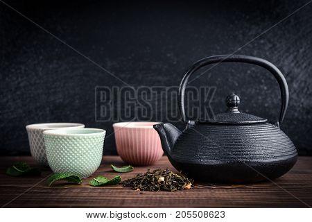 Green Tea In Cast-iron Teapot