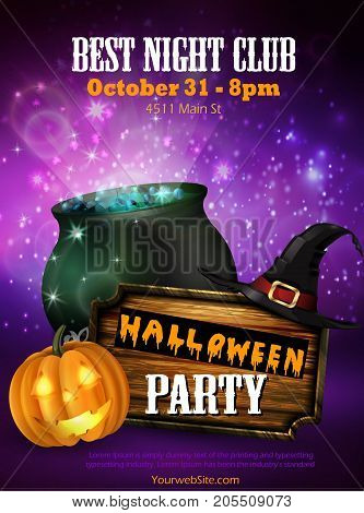 Halloween party flyer with pumpkins, hat, pot and wooden board vector