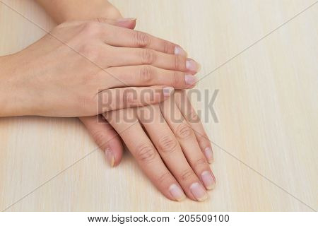 Female hands without polish. Beautiful female hands without varnish on the nails ready to manicure.
