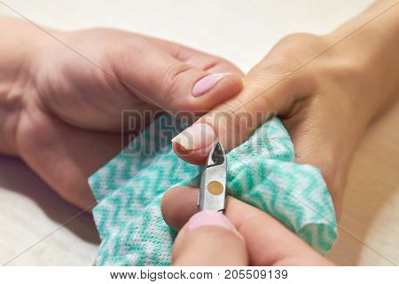 Manicurist cut the cuticle to the client. Preparing nails before manicure, trimming cuticles. Skin and nails treatment. Salon beauty and spa.