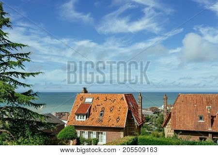 Country Houses With Sea View In The Region Of Normandy, France On A Bright Sunny Day. Beautiful Coun