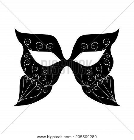 image of a black mask with patterns. vector illustration.