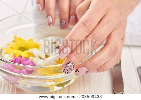 Spa treatment for female hands. Young woman beautiful hands in glass bowl with water and floating chrysanthemums. Hands treatment and nails care.