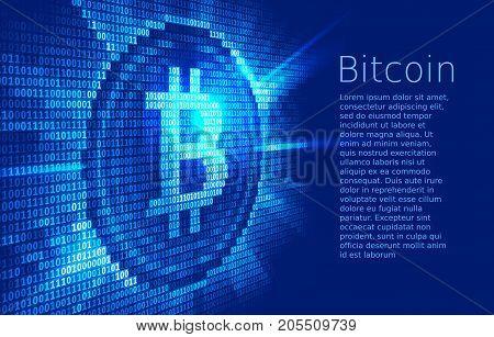 Virtual bitcoin digital currency consist of binary code. Eps10. RGB. Global colors