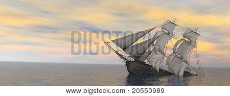 sinking ship in the vas sea