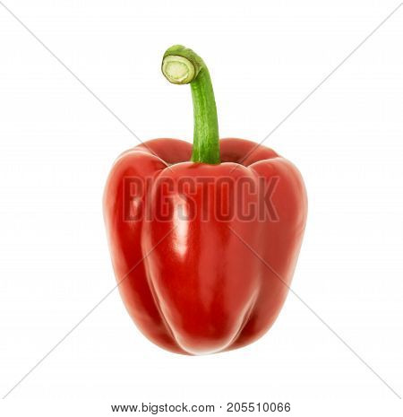 Bell pepper is red colors on a white background. clipping path.